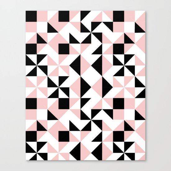 Eva - rose quartz quilt squares hipster retro geometric minimal abstract pattern print black pink Canvas Print