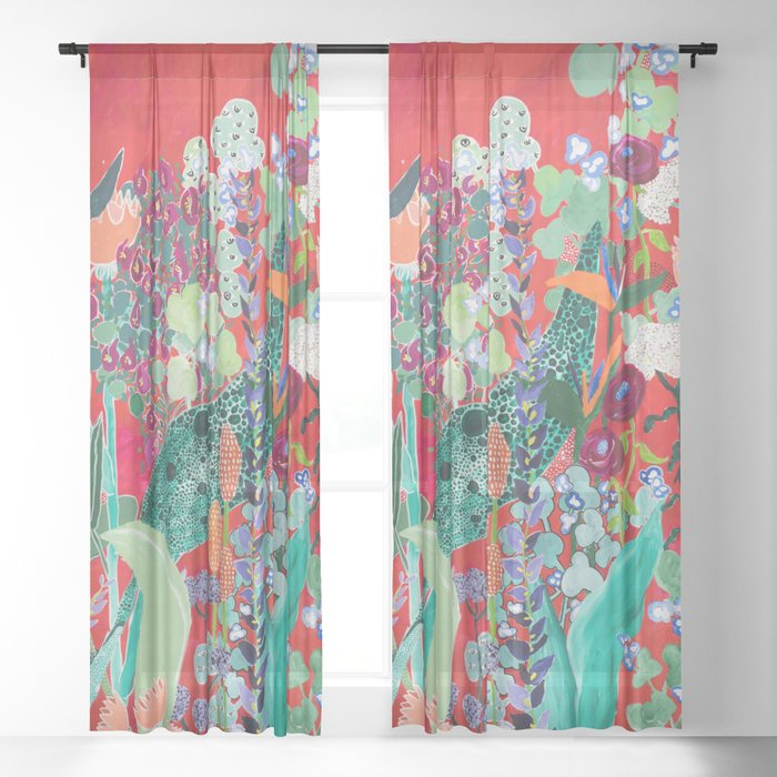 Red floral Jungle Garden Botanical featuring Proteas, Reeds, Eucalyptus, Ferns and Birds of Paradise Sheer Curtain