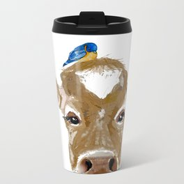 Bluebird Cow Metal Travel Mug