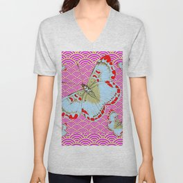 ORIGINAL ORIENTAL STYLE RED-WHITE EXOTIC BUTTERFLY PINK ART Unisex V-Neck