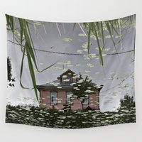 russia Wall Tapestries featuring Suzdal, Russia. House Reflection by Brandon Beacon Hill