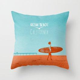 Ocean Beach California Surfer Throw Pillow