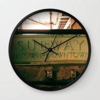 subway Wall Clocks featuring Subway by Kimball Gray