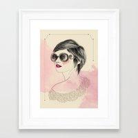 sunglasses Framed Art Prints featuring Sunglasses by Rosaria Degennaro Illustrations