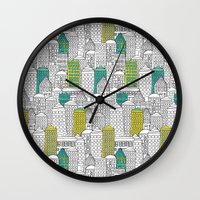 building Wall Clocks featuring Building by AlakaZoo