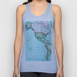 Turquoise Map Pattern Unisex Tank Top