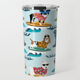 Surfing Dogs - cute summer tropical dogs surfing Travel Mug
