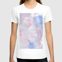 Abstract Watercolor Minimalist Quiet Murmur V periwinkle pink marble T-shirt