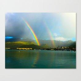 Hawaii Double Rainbow Canvas Print
