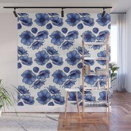 Blue Anemone Watercolor Flower Pattern Wall Mural