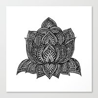 lotus flower Canvas Prints featuring Lotus by Luna Portnoi