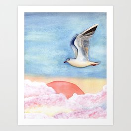 Seagull flying over pastel clouds Art Print