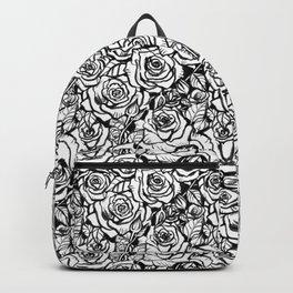 Rose Bush - Black and White Pattern Backpack