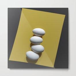 Eggs on yellow sheet Metal Print