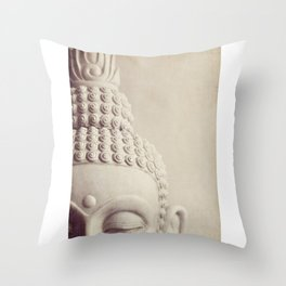 Cropped Buddha head statue. Throw Pillow