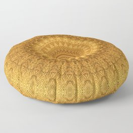 Sunflower Feather Bohemian Sun Ray Pattern \\ Aesthetic Vintage \\ Yellow Orange Color Scheme Floor Pillow