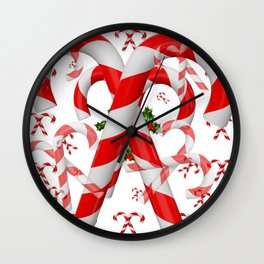 FESTIVE ART RED-WHITE CHRISTMAS CANDY CANES HOLLY BERRIES Wall Clock