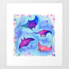 Neon Mantas Art Print