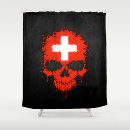 Flag of Switzerland on a Chaotic Splatter Skull Shower Curtain