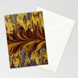 Electric-Blue, Brown, and Gold Abstract Stationery Cards