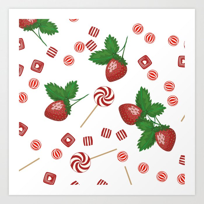 Candy lollipops Strawberry sweets Art Print