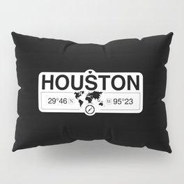 Houston Texas Map GPS Coordinates Artwork with Compass Pillow Sham
