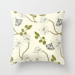 Star Magnolia and Moths Throw Pillow