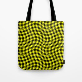 Wiggly Yellow and Black Speckle Check Pattern Tote Bag