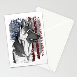 Patriotic American Flag German Shepard Gift Mens Womens Kids Print Stationery Cards