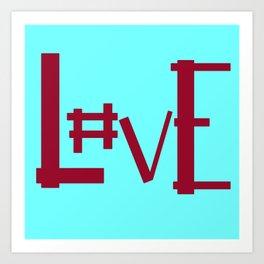 Baby Blue Hashtag L0ve Art Print