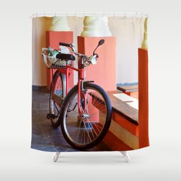 Orange Bike Shower Curtain