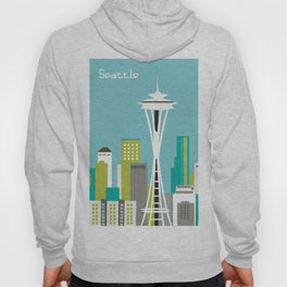 Seattle, Washington - Skyline Illustration by Loose Petals Hoody