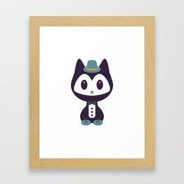 Cute kitten in formal clothes Framed Art Print