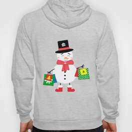 Happy Snowman with shopping bags Hoody