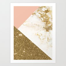 Gold marble collage Art Print