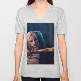 Harley Quinn - The Clown Princess Of Gotham With Her Goodnight Bat Unisex V-Neck