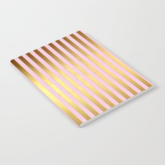 Striped- Pink and gold luxury stripes design Notebook