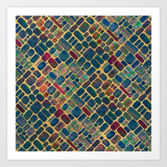 Abstract Tile Mosaic 2 Art Print