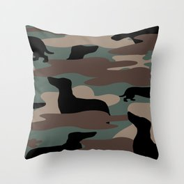 Camo Weiner Dogg Throw Pillow