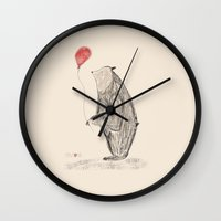 baloon Wall Clocks featuring bear with red baloon by Ayala Sol