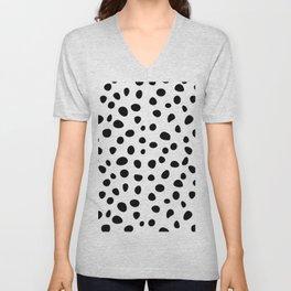 Dalmatian Dog skin Black White Dots Pattern background Unisex V-Neck