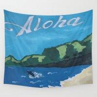 aloha Wall Tapestries featuring Aloha by TrishRay