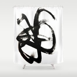 Brushstroke 4 - a simple black and white ink design Shower Curtain
