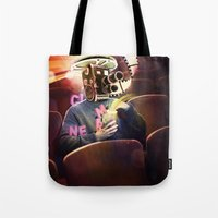 cinema Tote Bags featuring Cinema Poster by Bruno Marinho