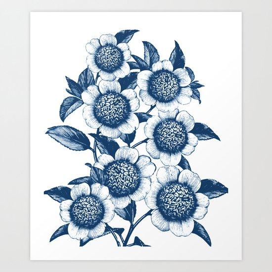 Blue Flowers Elegant Pattern Art Print