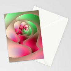 Spiral Labyrinth in Mint and Rasberry Stationery Cards