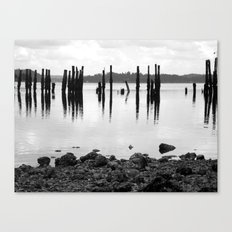 Waterfront Park in Black and White Canvas Print