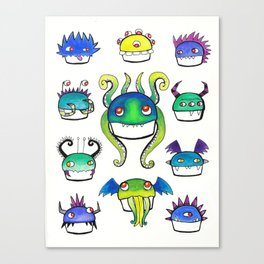 Lovecraftian Monster Cupcakes Canvas Print