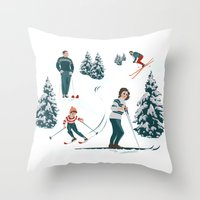 sports Throw Pillows featuring Sports d'hiver by Vannina