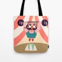 muscle Tote Bags featuring Monsieur Muscle  by Geekygirl